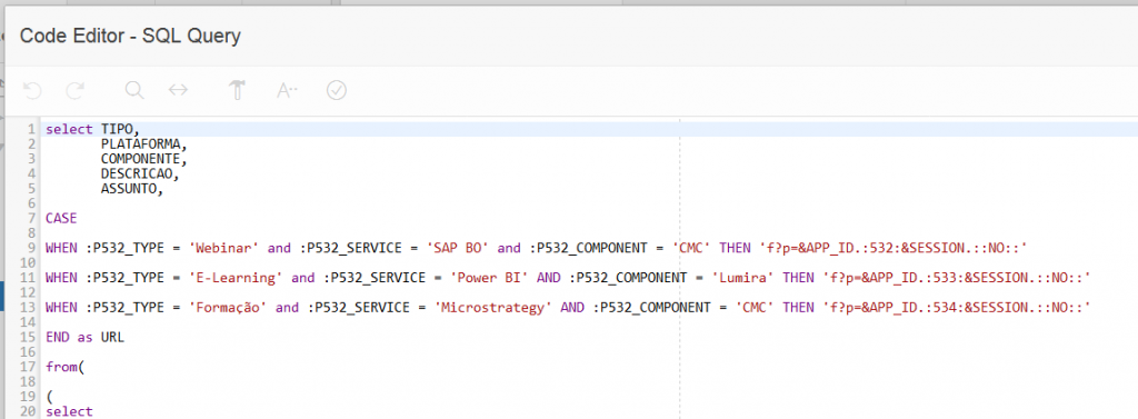 How to create dynamic links in Oracle Application Express